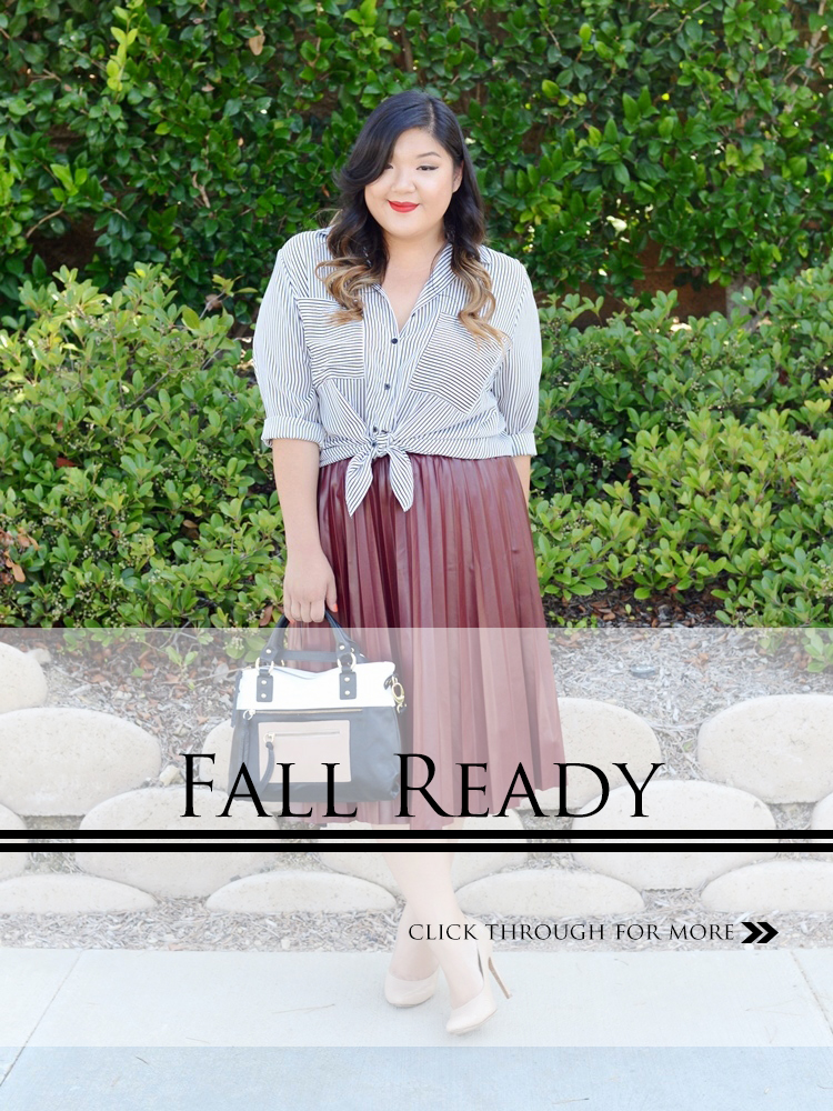 Curvy Girl Chic Plus Size Fashion Blog Fall Ready faux leather midi skirt