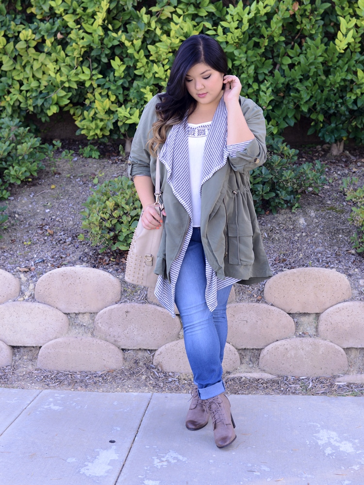 Curvy Girl Chic Plus Size Fashion Blog Charlotte Russe Anorak Skinny Jeans Lace Up Boots