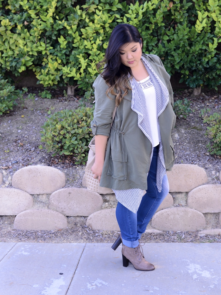 35a5491a1dc Curvy Girl Chic Plus Size Fashion Blog Charlotte Russe Anorak Skinny Jeans  Lace Up Boots