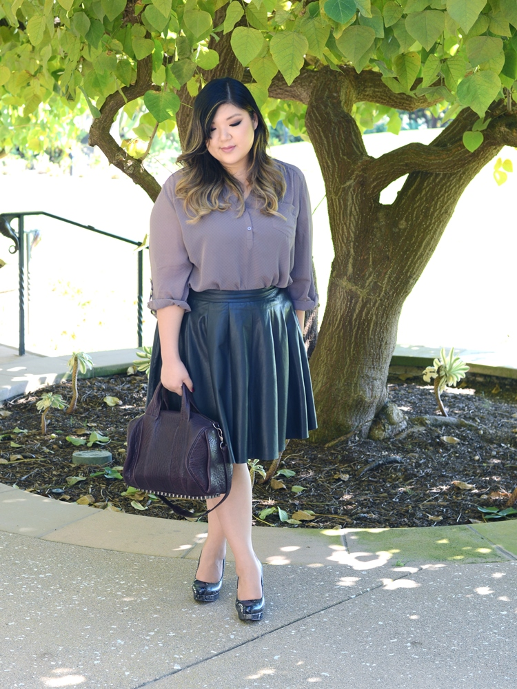 Curvy Girl Chic Plus Size Fashion Blog Maurices Perfect Blouse Leather Skirt Fall Outfit