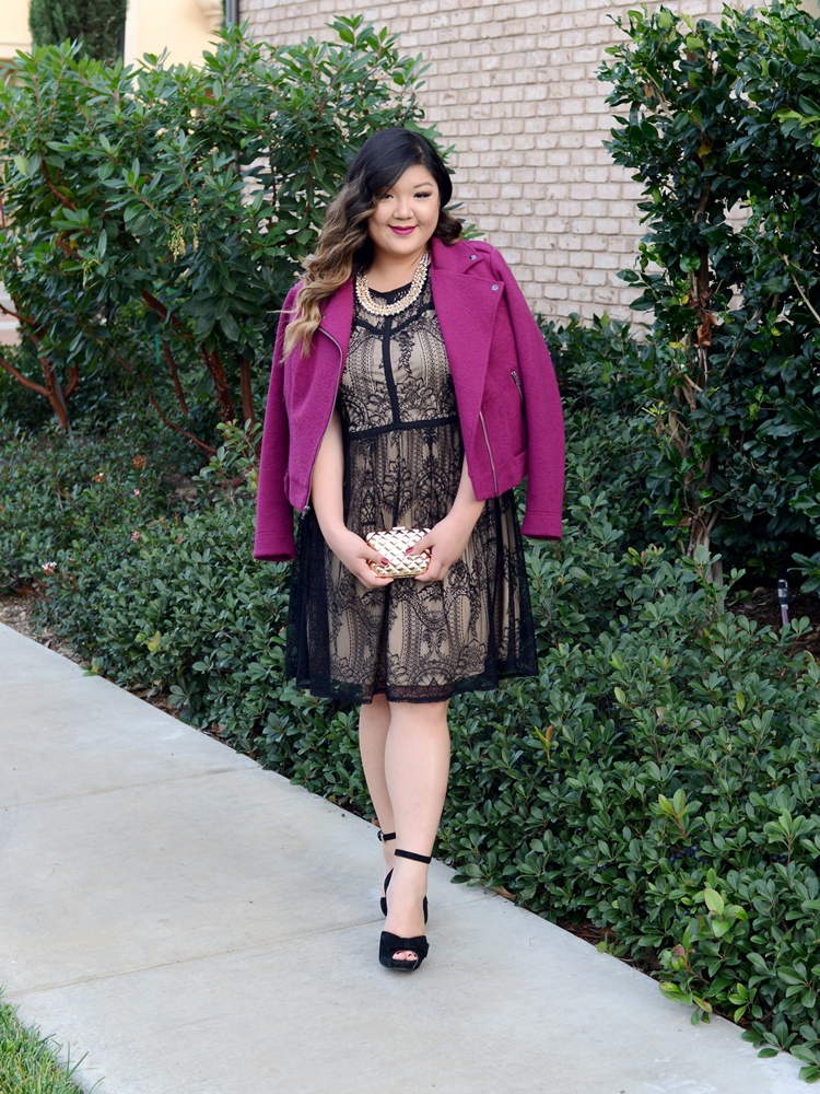 Curvy Girl Chic Plus Size Fashion Blog maurices holiday lace dress outfit