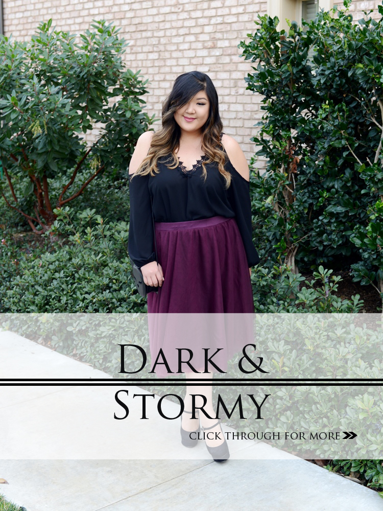 Curvy Girl Chic Plus Size Fashion Blog Charlotte Russe Cold Shoulder Top and Burgundy Tulle Midi Skirt