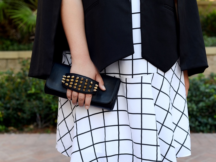 Curvy Girl Chic Plus Size Fashion Blog Monochrome Black and White Outfit Checkered Dress and Cape Blazer