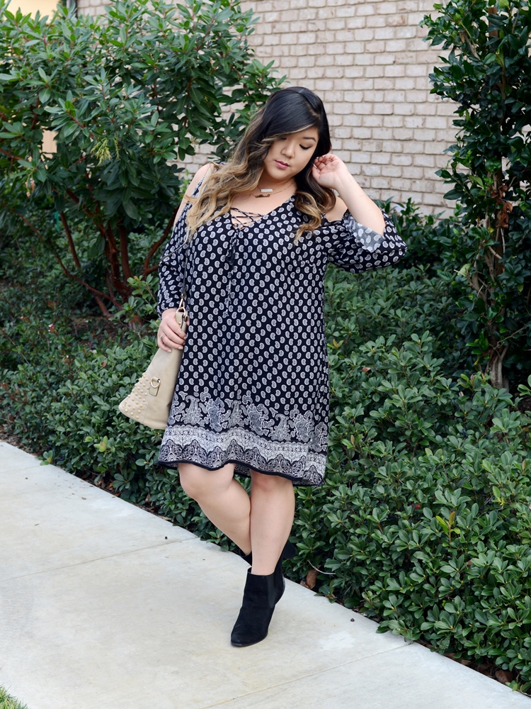 Curvy Girl Chic Plus Size Fashion Blog Charlotte Russe Cold Shoulder Dress and Eloquii Ankle Boots