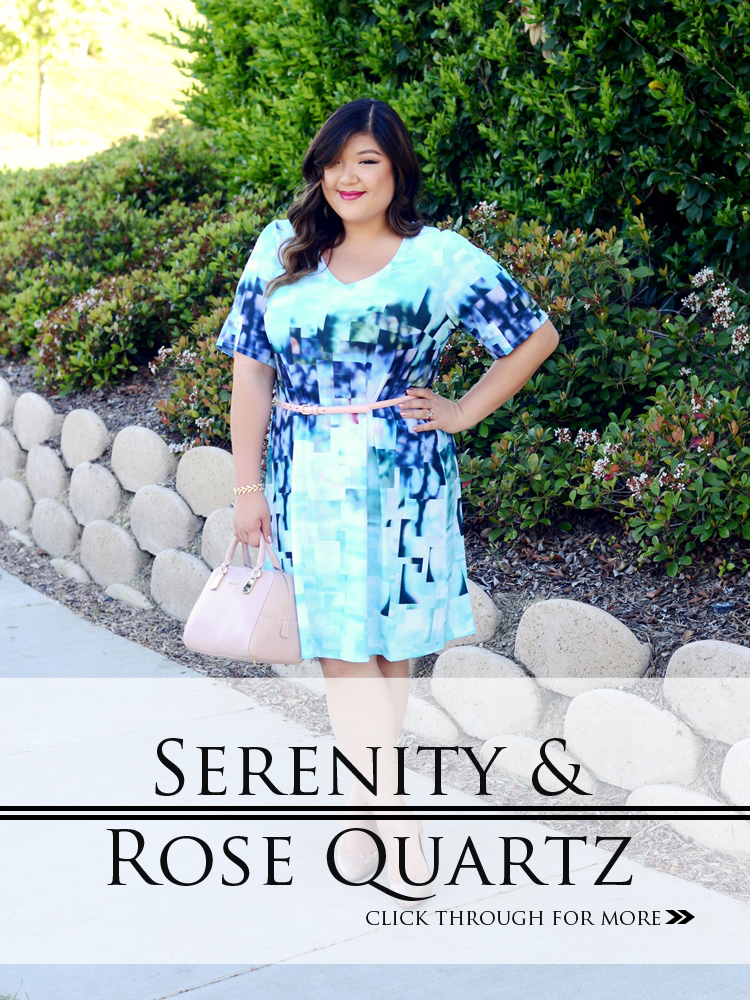 Curvy Girl Chic Plus Size Fashion Blog Neiman Marcus Last Call Pantone 2016 Colors Serenity and Rose Quartz