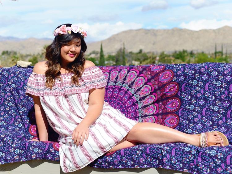 Curvy Girl Chic Plus Size Fashion Blog Coachella Festival Fashion Lookbook Off Shoulder Dress