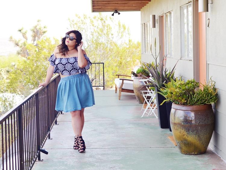 Curvy Girl Chic Plus Size Fashion Blog Coachella Festival Fashion Lookbook Torrid Insider Ruffled Printed Crop Top Denim Skirt
