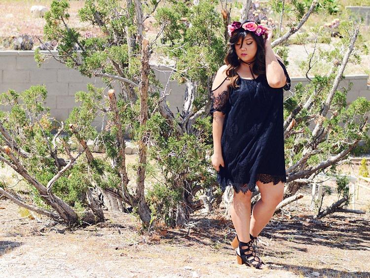 Curvy Girl Chic Plus Size Fashion Blog Coachella Festival Fashion Lookbook Torrid Insider Black Lace Cold Shoulder Dress Wide Lace Up Heels Choker