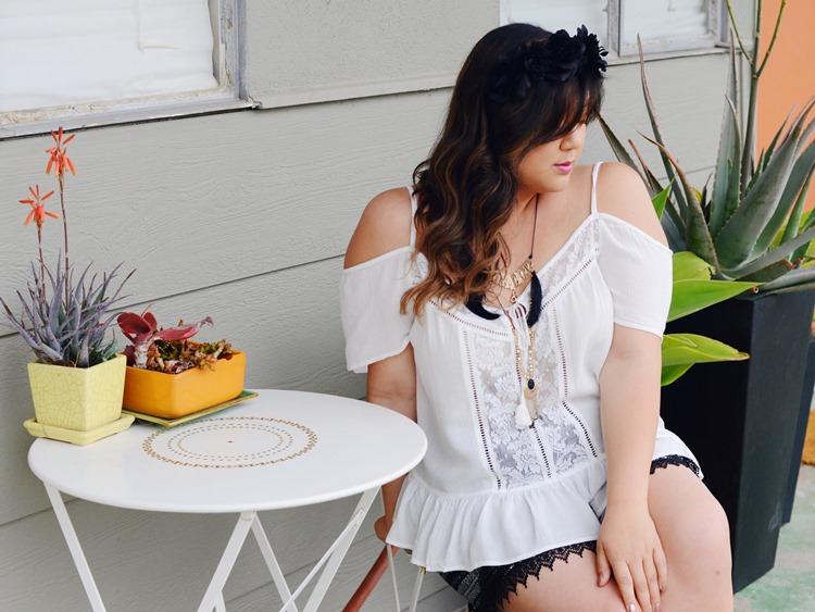 Curvy Girl Chic Plus Size Fashion Blog Coachella Festival Fashion Lookbook Forever 21 Plus Off Shoulder Top and Shorts