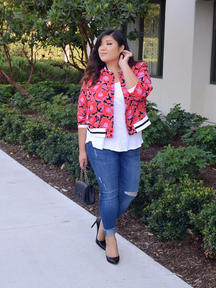 Curvy Girl Chic Who What Wear Plus Size Floral Bomber Jacket