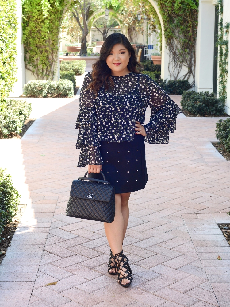 Curvy Girl Chic Forever 21+ Plus Size Fall Outfit Statement Sleeves and Suede Studded Skirt
