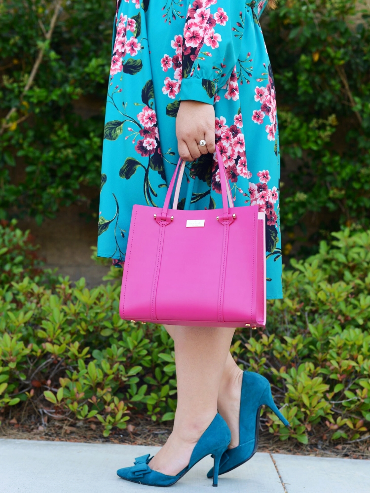 Curvy Girl Chic Plus Size Stitch Fix Eloquii Floral Dress Kate Spade Pink Bag Teal Pumps