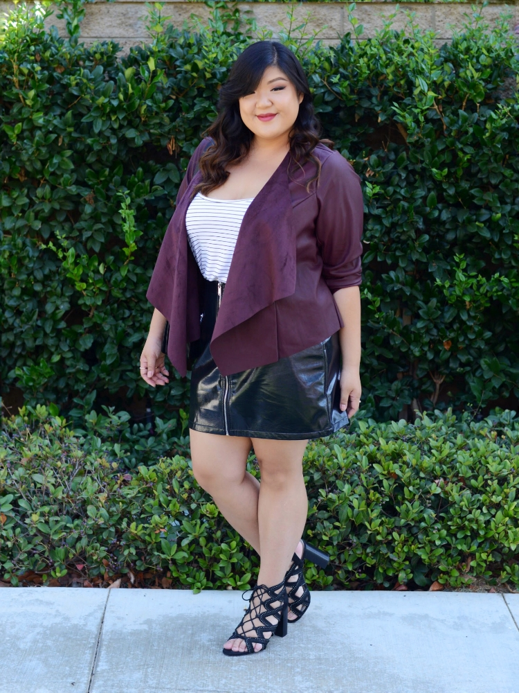 Curvy Girl Chic Just Fab Plus Size Leather Jacket and Vinyl Skirt