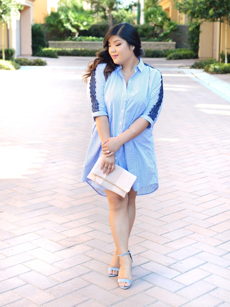 Curvy Girl Chic Plus Size Shirt Dress and Wide Width Heels