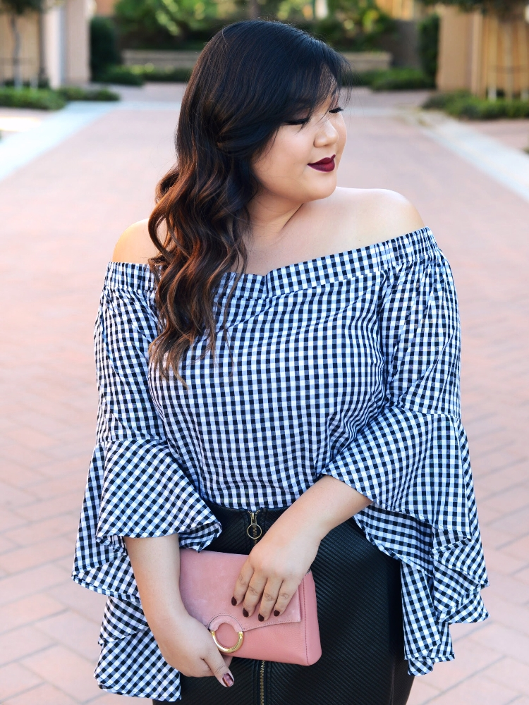 Curvy Girl Chic Plus Size City Chic Dramatic Sleeve Off Shoulder Top Macy's Rachel Roy Curvy Leather Skirt