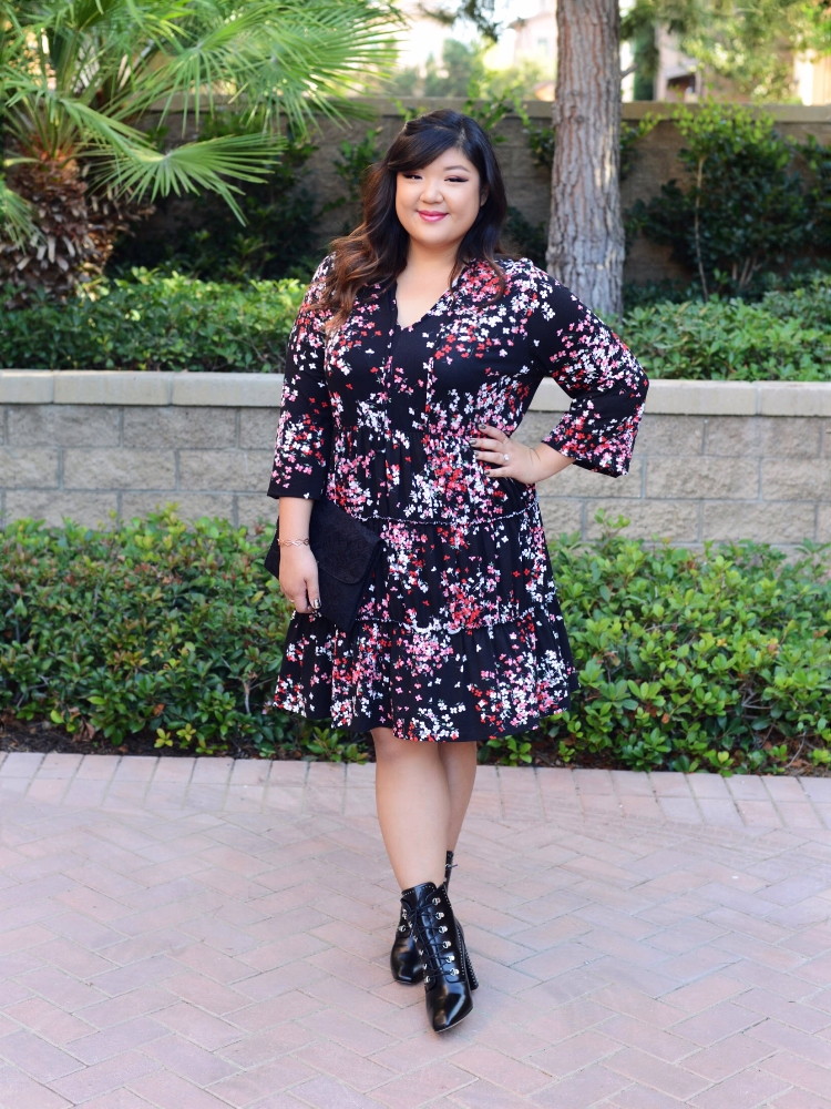Curvy Girl Chic Plus Size ASOS Curve Dark Florals Dress Fall Outfit Lace Up Ankle Boots
