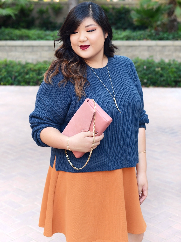 Curvy Girl Chic Plus Size 70's Fall Colors Outfit Forever 21+ Dusty Blue Sweater and Mustard Flared Skirt