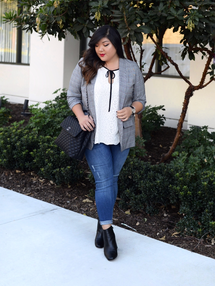 Curvy Girl Chic Plus Size Plaid Blazer Target Warp + Weft Jeans Chanel Coco Handle Large