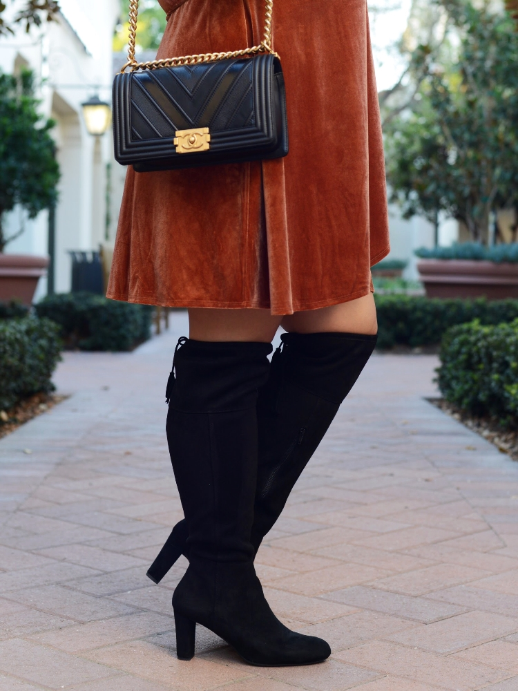Curvy Girl Chic Plus Size Forever 21+ Amber Velvet Wrap Dress with Over the Knee Boots and Chanel Boy Bag
