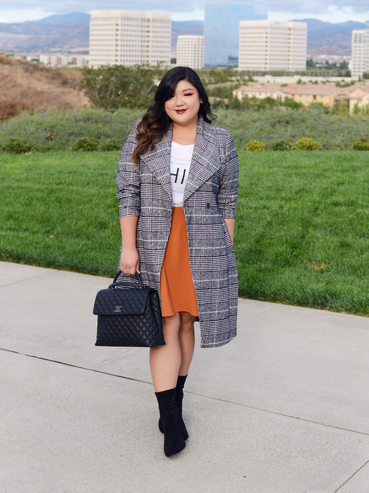 Curvy Girl Chic Plus Size Plaid Coat with Mustard Skirt