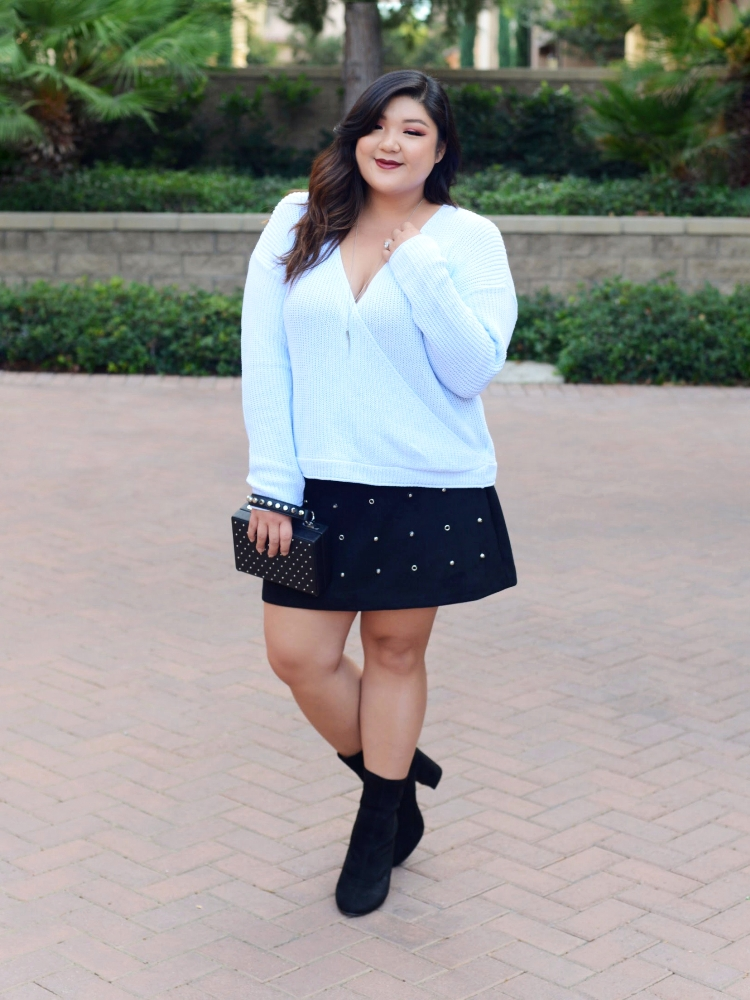 Curvy Girl Chic Plus Size Knitwear Wrap Sweater and Studded Skirt